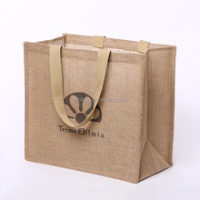 Reusable natural color jute tote bag for shopping, Printed jute shopping bag customized
