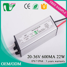 20-36VDC 600mA CE listed Waterproof IP67 22w constant current led driver