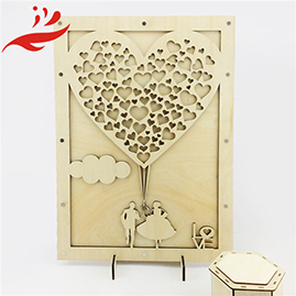 handmade Custom Guest Book Wedding Wood Heart by china manufacturer
