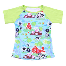 Top quality children clothings milk cow raglan sleeve <strong>boy's</strong> <strong>T-shirt</strong> fresh green top for toddlers