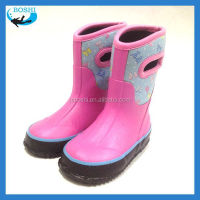 stocklot fashionable children rain boots Neoprene lining rubber shoes for children