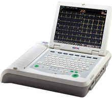 EM-1203 Digital 12-channel ECG/EKG, 12 inch color LCD and support PCL language external printer ecg machine