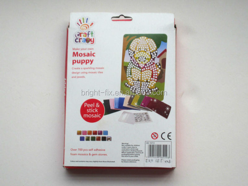 wholesales kids educational toys/fashion EVA foam stickers/craft crazy make your own mosaic puppy