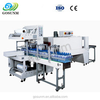 Automatic PE Film bottle shrink sleeve cutting wrapping packaging machine with Shrink Tunnel