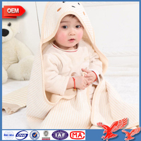China Factory Wholesale Certification Antibacterial Soft 100%cotton quick dry baby hooded towel