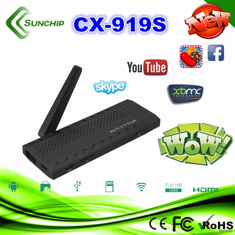 Factory Supply RK3188 android 4.2.2 quad core mini pc hdmi android smart tv stick CX-919S 1G+8G daul-core TV Dongle