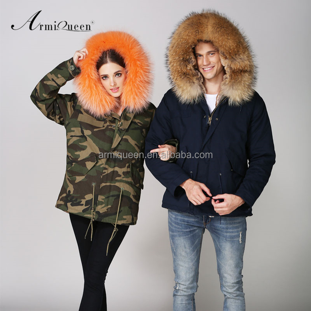 Womens clothes 2017 couples clothing camouflage dark blue winter parka, Orange khaki fake fur raccoon hooded jacket coat men