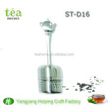 stainless steel fruit infuser water bottle tea infuser with tea pot shape handle