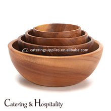 Wholesale Acacia Wood Large Wavy Bowl Eco-friendly Wood Salad Mixing Bowl Eco-friendly Wood Serving Bowls