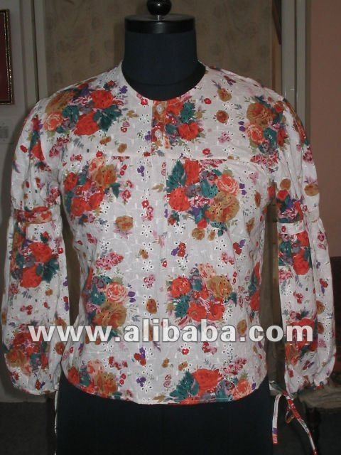 Long sleeve pattern floral printed cotton ladies summer wear tunic blouses top's