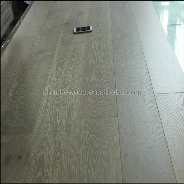 Best factory prices brushed UV Lacquer white European oak wood flooring-14/2MM collection