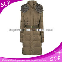 Slimming high-collar winter puffer coat with shearling collar for ladies women wholesale