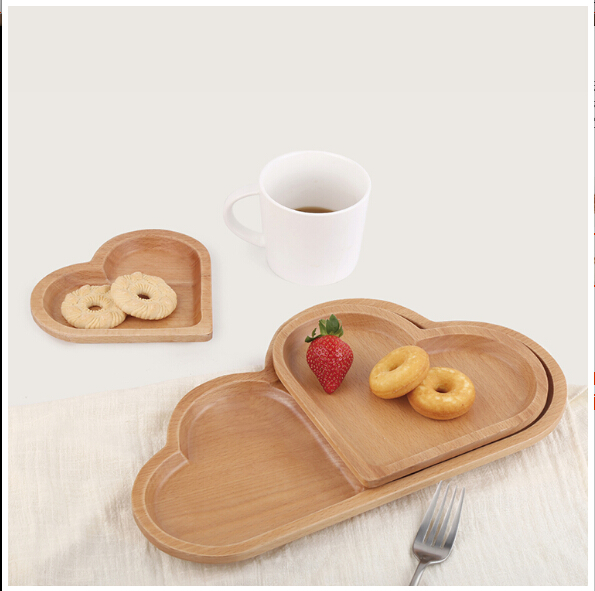 cloud shape fruit tray Home Decorative beech Wooden Serving heart Tray/ Plate