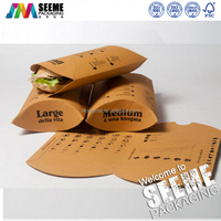 Food grade brown kraft paper pillow box for food packaging sandwiches packing box