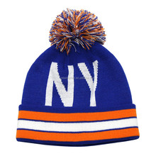 Cold Weather Hat Sports New York Acrylic Knitted Beanie Pom Pom Hat with Cuff