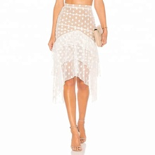 Summer New Fashion Latest Design Ladies White Lace Sexy Skirts Short Front And Long Back Skirts For Women