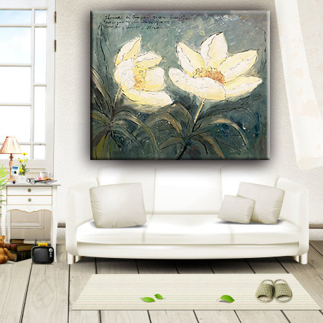 High quality printed lotus flower chinese oil painting canvas reproduction