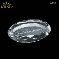 Custom Logo Laser Engraved Blank K9 Crystal Paperweight Round Diamond Edge Clear Glass Paperweight.