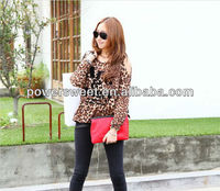 new model of sexy girls leopard printed sleeve slpit loose t shirt for 2013 summer