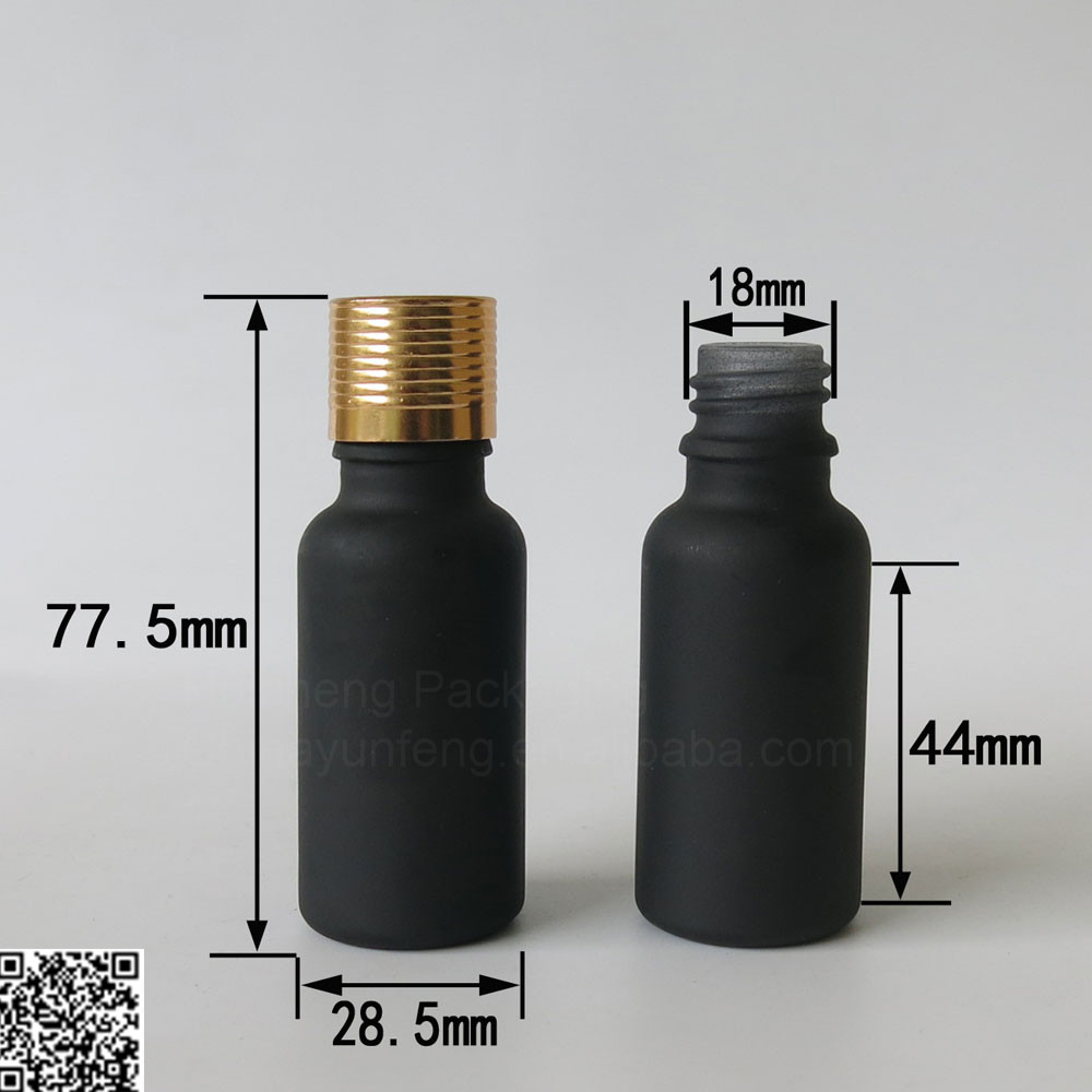 High quailty 20ml black essential oil glass container cosmetic bottle with colorful screw top