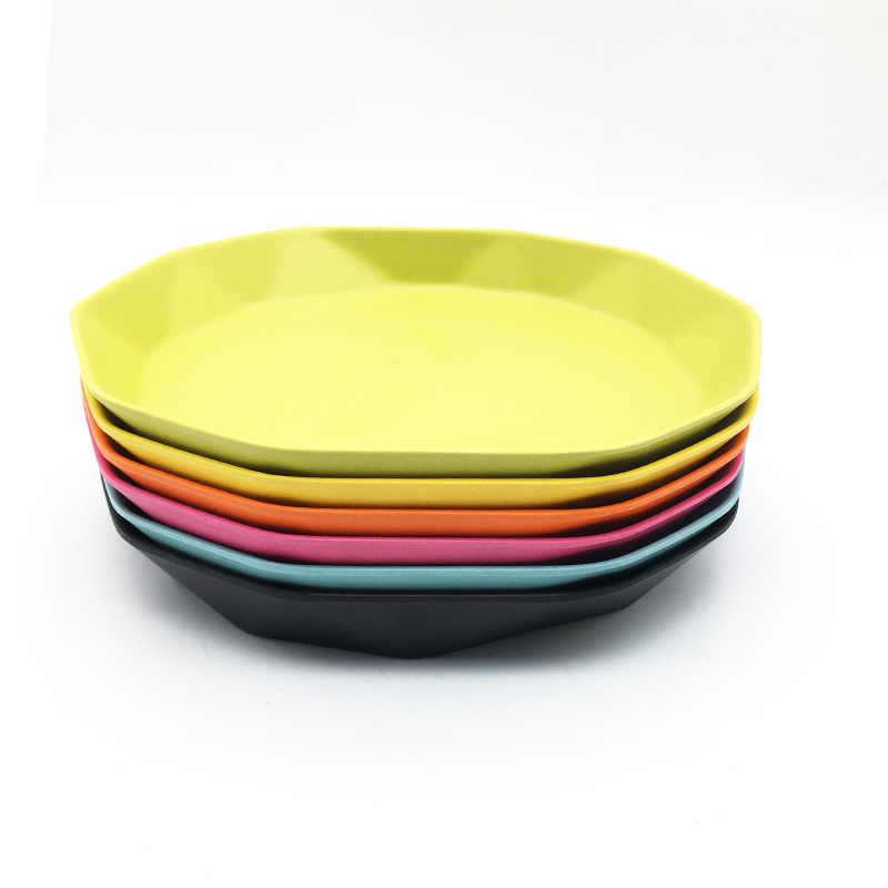 100% compostable bamboo fiber colorful food dinner plate unbreakable with FDA
