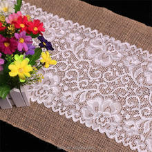 2017 new wedding home decor BURLAP JUTE HESSIAN DOUBLE LACE VINTAGE Rustic WEDDING TABLE RUNNER