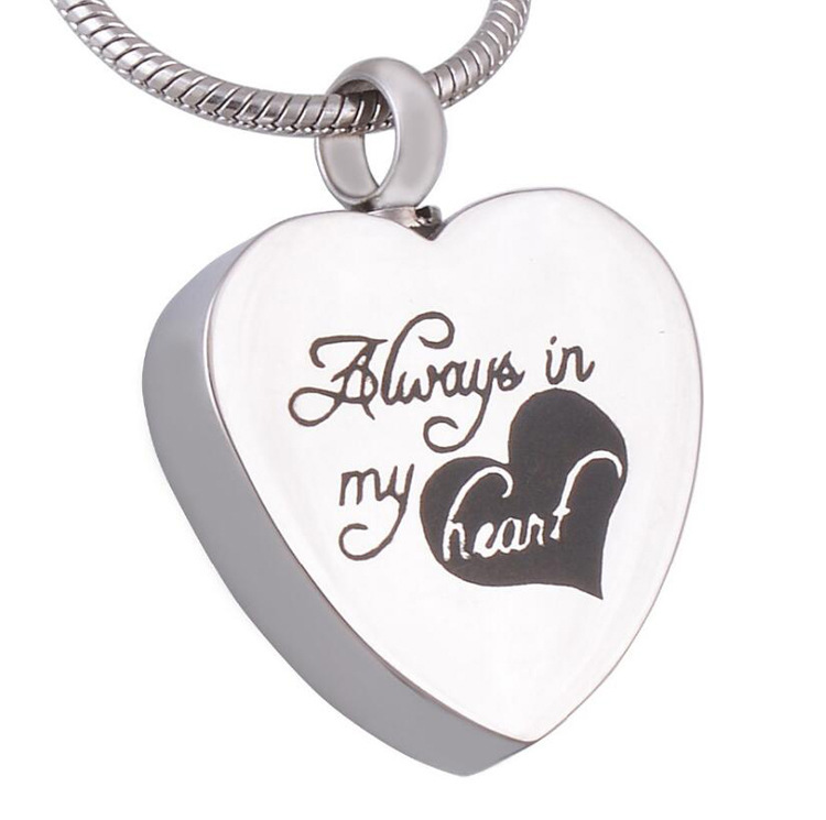 "XL103 "" Always in My Heart "" Cremation Urn Stainless Steel Necklace Pendant Locket Memorial Keepsake"