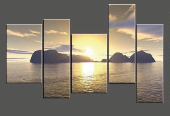 5 Panel Landscape Canvas painting,Custom Group Sunset High Quality wall art ,Seascape Stretched Canvas Printing