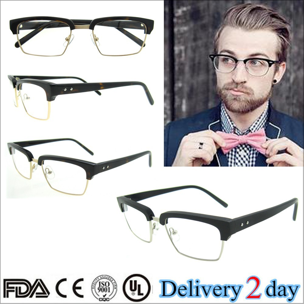 2015 high quality fashion eyeglasses providers black/tortoise men optical glasses handmade acetate silhouette eyeglasses frames