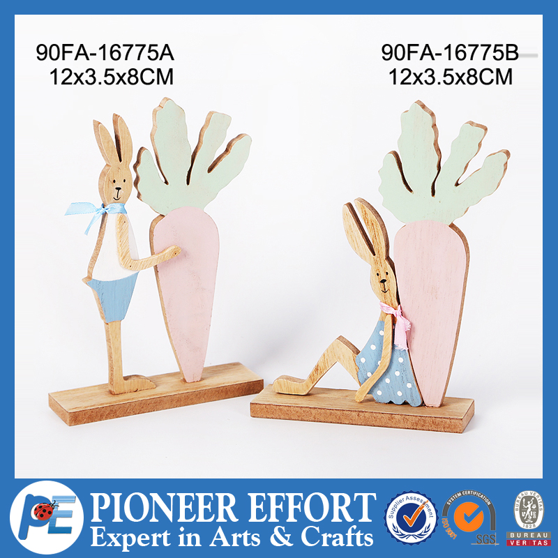 Wooden easter bunny and carrot table decoration