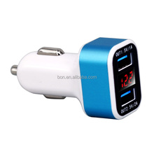 2017 new come digital display smart car charger 5v 3.4a,dual usb universal charger adapter
