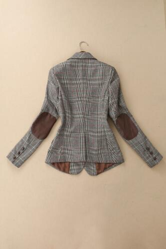 Latest British Style Basic Simple Style Neck Designs For Women Clothes Long Sleeve Casual Plaid Ladies Wool Formal Suit Coat