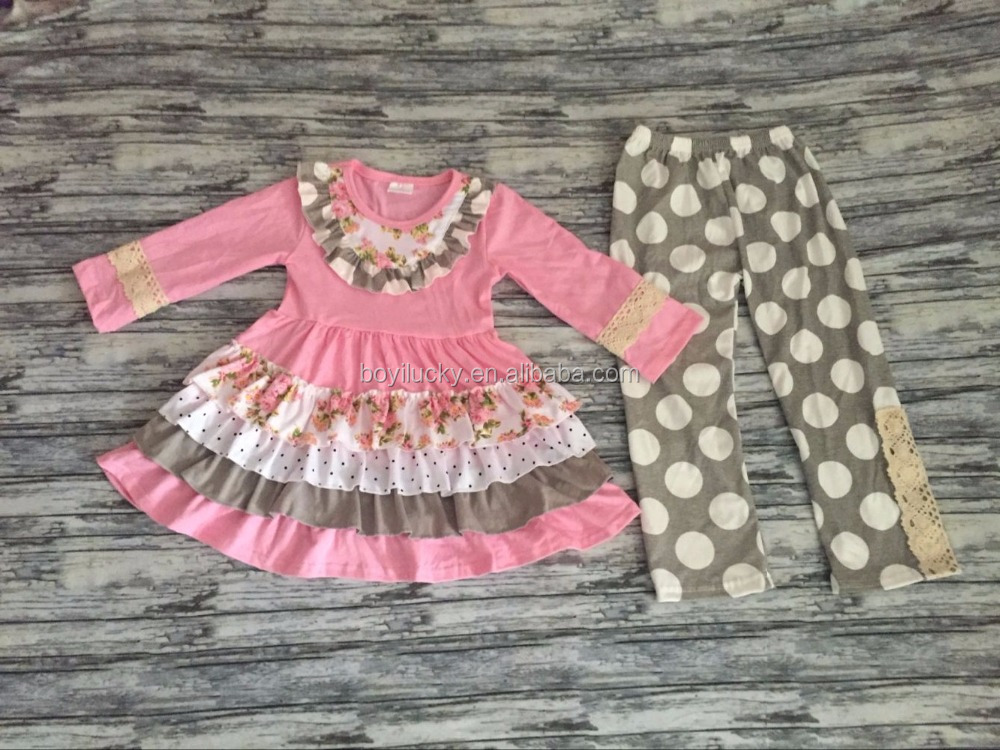 Persnickety Remake Lovely Pink Children Clothes Ruffle Tops and Pants Boutique Girls Clothing