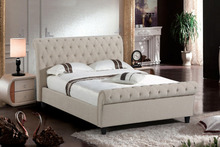 2017 Best seller velvet fabric chesterfield sleigh bed, Queen size upholstery bed with diamante buttons