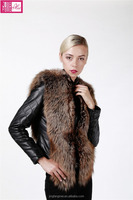 Ladies Winter Warm Karakul Sheep Fur with Fox Fur Jacket
