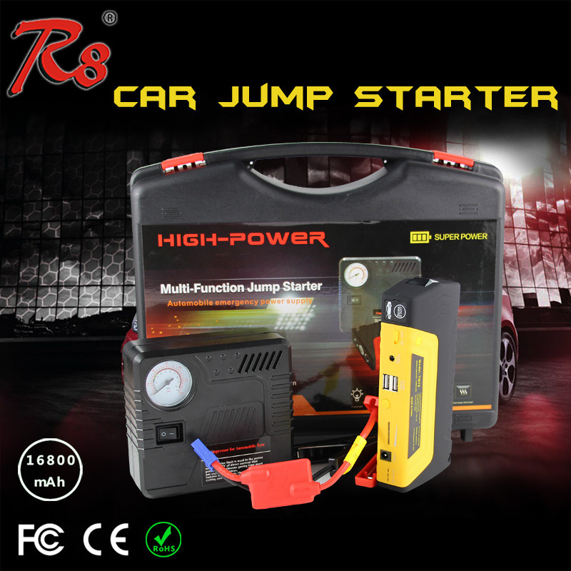 Emergency Power Supply for Cars Portable Multi Function Jump Start Battery with Air Compressor 16800mAh Power Bank
