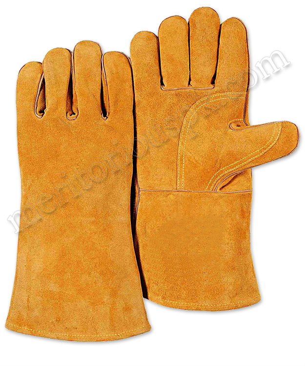 Orange Heat Protection Leather Welding Gloves