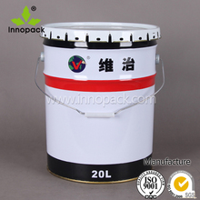 white painted metal tin bucket container with flower lid for bolts&nuts