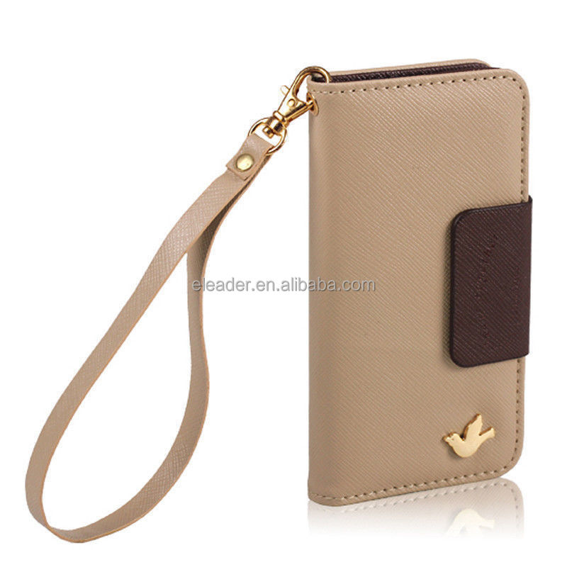 for iphone 5s wallet case with strap, leather cover for iphone 5