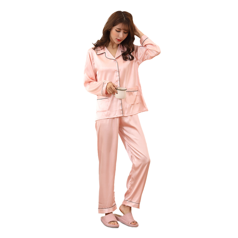 5dd88d41d5c New design women long sleeve satin pajamas suits autumn christmas silk  ladies nighties