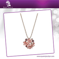 2016 Enamel Flower Pendant Necklace Multi Color Crystal with Rose Gold Plated Fashion Jewelry