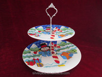 white porcelain 2-tiers cake stand