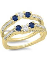 14K Gold Round Cut Blue Sapphire & White Diamond Ladies Wedding Band 3 Stone Enhancer Guard Double Rings