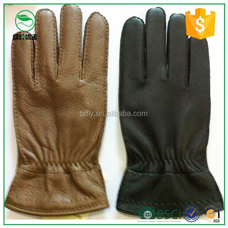 Top classic leather deerskin gloves fashion men's leather gloves winter
