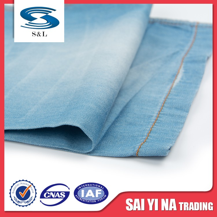 Wicking light blue cotton twill stripe denim jean fabric for supplier
