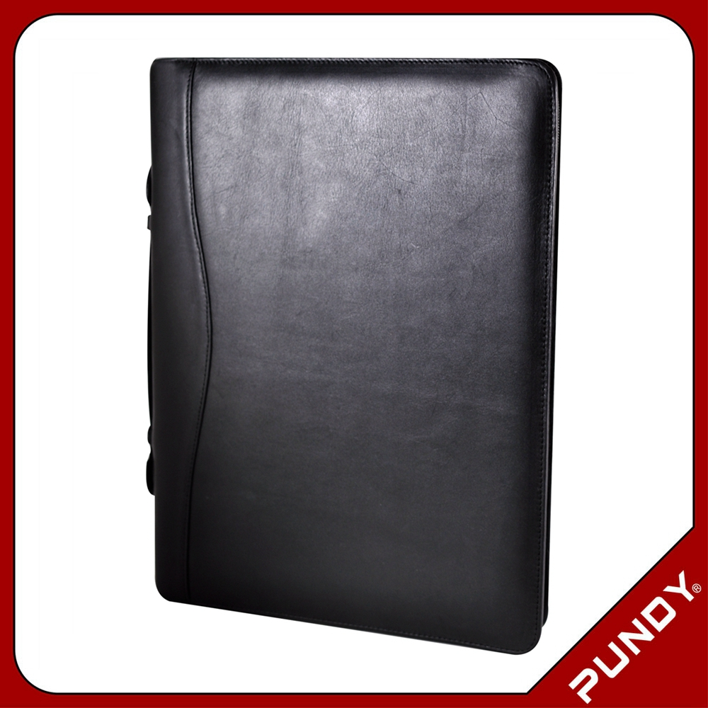 good quality manufacturer A4 leather padfolio with logo stamping