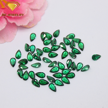 loose cubic zirconia stones aaa quality pear cut emerald green cz stone