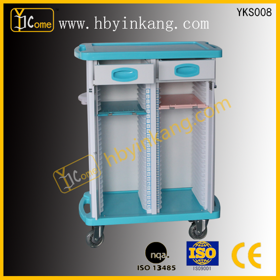 Hot selling ABS medical record trolley