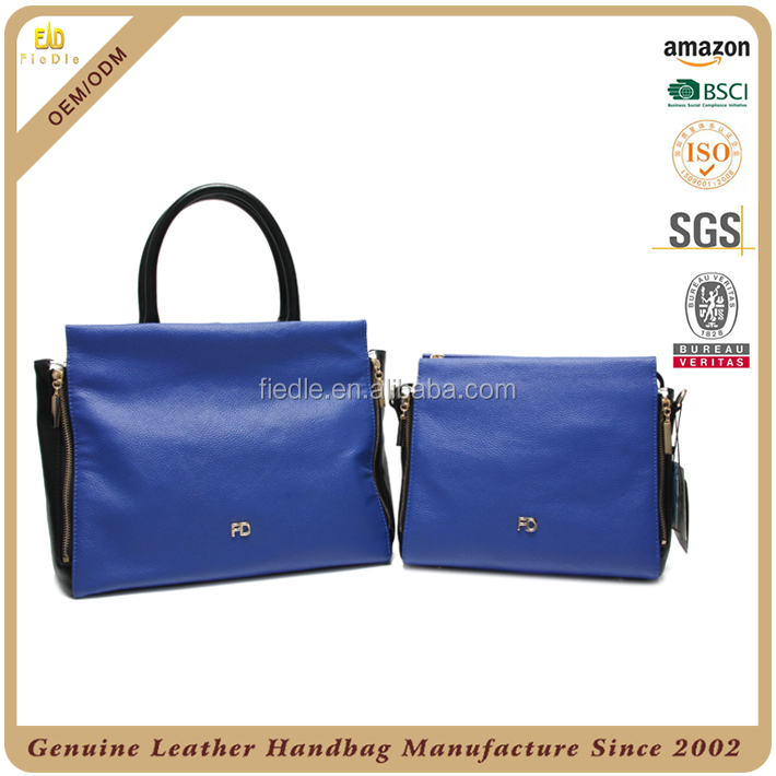CSYH220-001 Factory directly produced graceful style Navy Blue Leather Handbag pebble grain women Bag