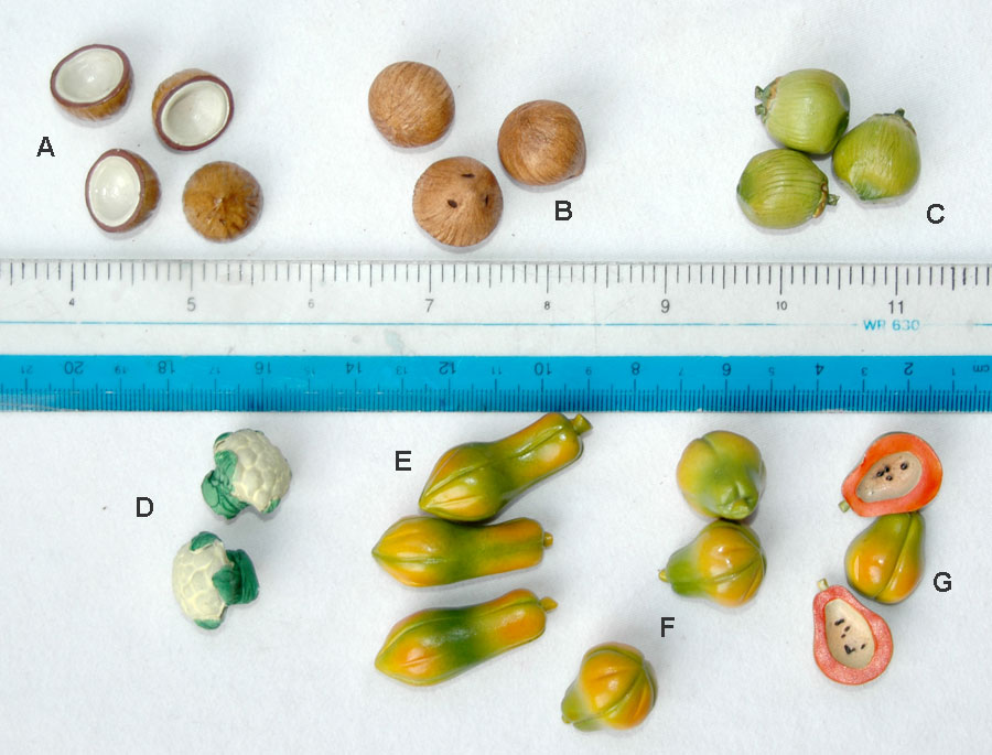 Miniature Ceramic Fruits; Coconut, Papaya